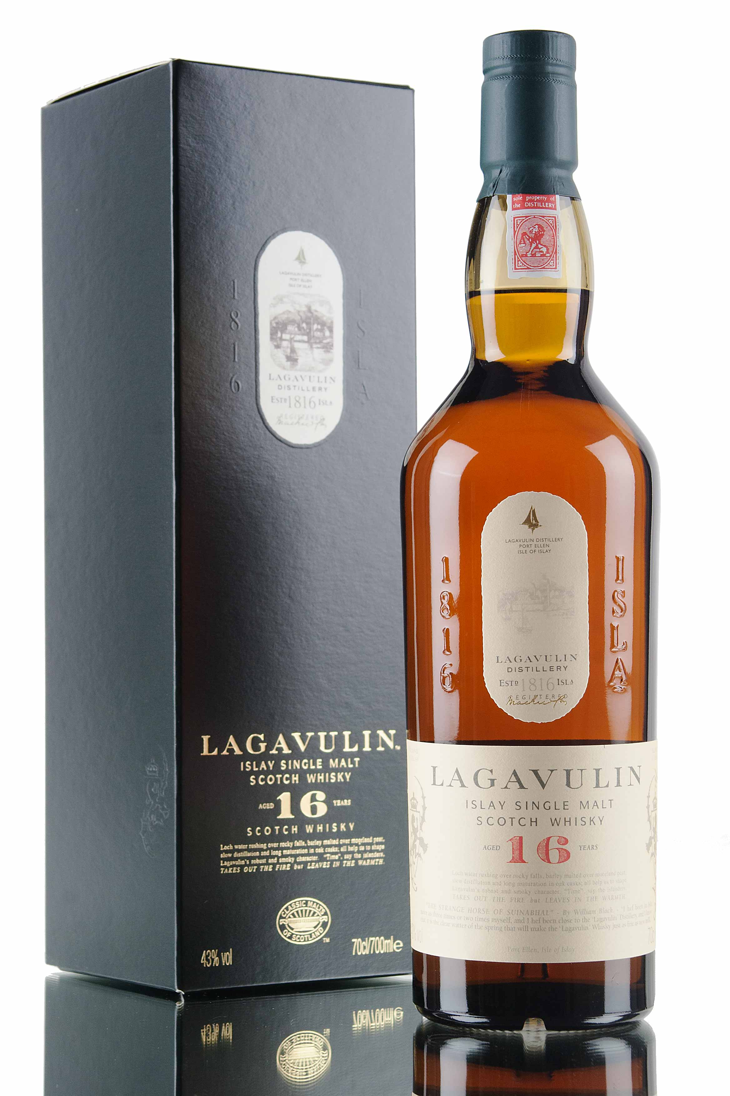 Lagavulin 16 year old whisky met doos